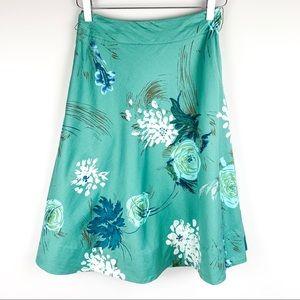 Anthropologie Odille green floral skirt